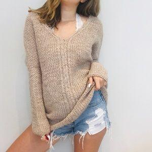 Anthro Moth tan chunky oversized sweater